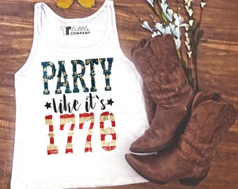 Party Like it's 1776 - Fourth of July White Women's Tank S-2X // Merica Tank // Independence Day