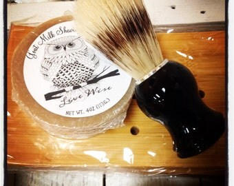 Goats milk shaving rounds and boar bristle shave brushes