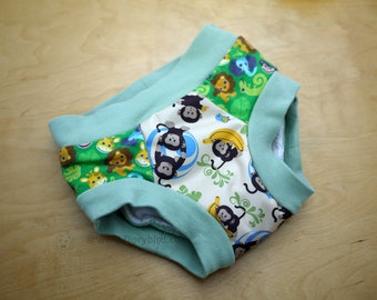 Handmade Cloth Trainers - size 3/4 - PUL Training Pants - Jungle Monkeys - Potty Training underwear -Potty Learning undies - no elastic