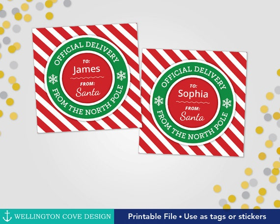 Printable Christmas Gift Tags Official Delivery from the North Pole • Children's Present Tags from Santa • Personalized for Kids • Download