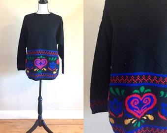 S A L E - Vintage Beldoch Popper Folk Art Sweater, Vintage Beldoch Popper Pull-over Sweater Size M