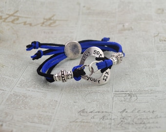 I've Got Your Six Heart Washer Adjustable Cord Bracelet With Slide Closure Back The Blue Thin Blue Line Police Jewelry Mom Wife Law