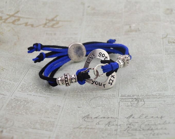 I'v'e Got Your Six, Adjustable Hand Stamped Washer Bracelet, Police Bracelet, Blue Lives Matter Back The Blue, Thin Blue Line Police Jewelry