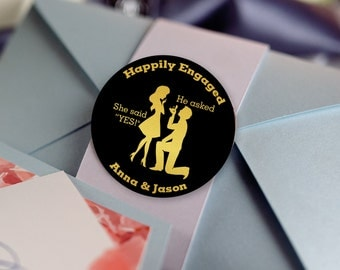 Glossy Round Labels - Engagement Party Decor - Engagement Announcement - Engagement Favors -Happily Engaged - Thank You Stickers