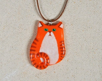 Adorable Red Cat pendant Polymer clay jewelry Red Cat necklace FREE SHIPPING