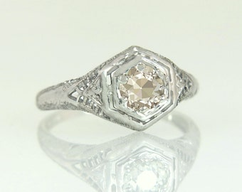 Antique 18k Gold .50ct Genuine Champagne Diamond Engagement Ring 2.2g