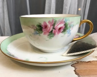 Set of Two Vintage Union K Teacup and Saucer, Green Floral Design with Gold Rim