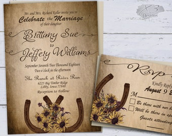 sunflower country wedding invitations printable rustic wedding invitations summer wedding western wedding invites - Wedding Invitations Rustic