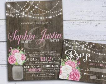 Rustic Wedding Invitation, Country Wedding Invitations, Printable Floral Wedding Invitations, Romantic Spring Wedding Invites DIY