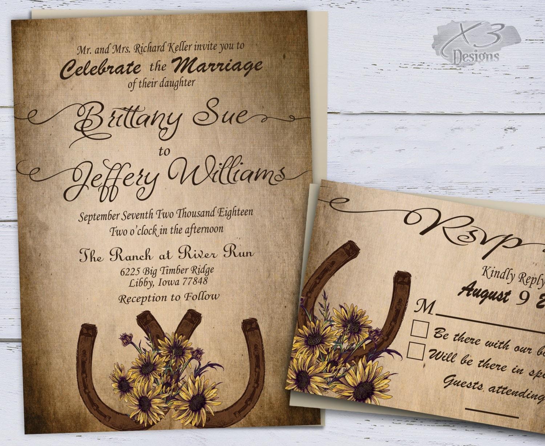 Rustic Wedding Reception Invitations: Sunflower Country Wedding Invitations Printable Rustic