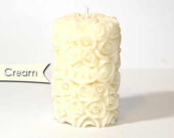 2 x Plain Cream Rose Candles - Scented with White Musk