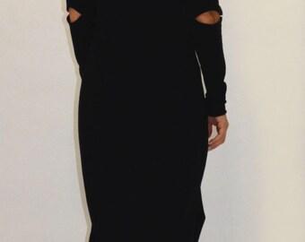 Extravagant Maxi Dress/  Open Shoulder Long Dress/ Open Elbow Open Neck Black Minimalist Dress