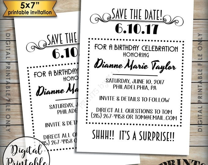 """Save the Date for a Birthday Party, Matches Flashback Invitations, Standard or Surprise Birthday Save the Date, 5x7"""" Digital Printable File"""