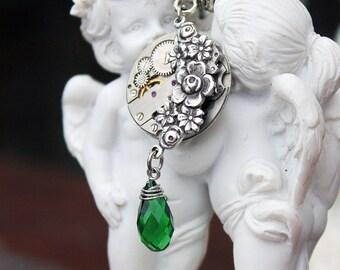 Steampunk swarovski green flower necklace