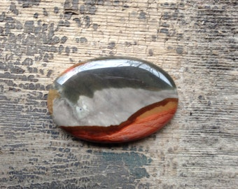 Succor Creek Jasper Cabochon - Oval - Grey, Maroon and Pink