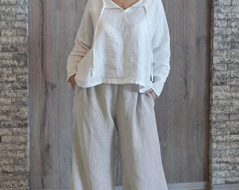 Women Baggy Linen Trousers Relaxed Lounge Wear Bohemian Linen Trousers Yoga Wear Oversized Relaxed Fit Large Size Pants Elastic Waist Pants