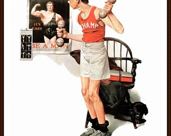 Be a Man, Post Cover painted by Norman Rockwell, The page is approximately 11 1/2 inches wide and 15 inches tall.