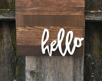 Hello Wood Cutout Sign   3D Hello Wood Sign