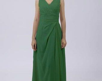 Emerald Green Classic Long Bridesmaid / Prom Dress by Matchimony with Straps