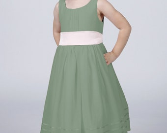 Sage Flowergirl Dress with Complimentary Sash available in all colours by Matchimony