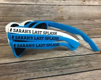Last Splash ADULT Personalized Sunglasses, Bachelorette Party, Seahorse Decal, Beach Theme Party, Girls Weekend Getaway, Mermaid Favors