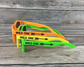 Wild One KIDS Personalized Sunglasses, First Birthday Party Favor, Arrow Decal, Boys Birthday Party Favor, Colorful Favor Idea, 1st Birthday