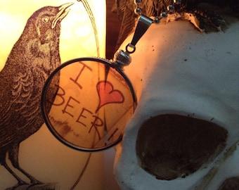 I Love Beer Miami Graffiti transparent Glass Locket Necklace. Original Transparent Photography. Unique.