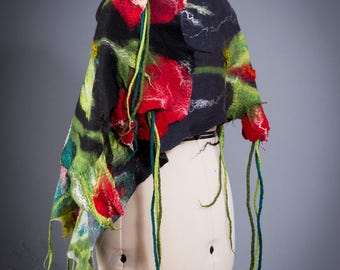 Shawl with flowers / Nuno felting / Red flowers /Silk Scarf With / Handmade felted scarf / Merino wool / Made to order/ Free shipping.
