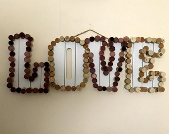 Cork and wood LOVE sign