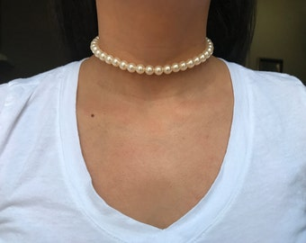 Beaded Choker, 1 Strand Choker, simple Choker Necklace, Choker, Beaded Choker, Thin Choker, Ivory Choker, Choker, elegant choker