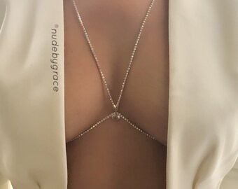 crystal bralette, bralette jewelry, bikini body jewelry, crystal bra, bralette chain, harness bralette, body chain, bralette,