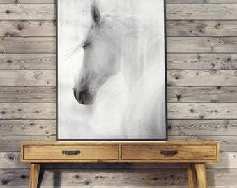 WHITE horse POSTER - print image without frame