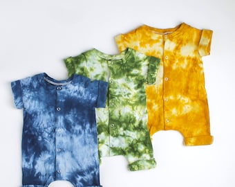 Cotton Rolled Hem Snap Front Romper Hand Dyed Blue/Green/Mustard Yellow