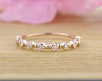 14k Rose Gold Alternating Bezel Set Diamond Bead Band Bubble Wedding
