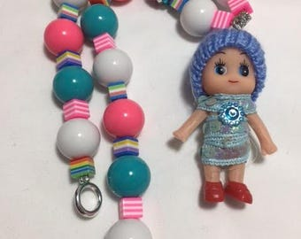 Bubble Gum Necklace, Chunky Necklace, Acrylic Beads, Monchichi doll, Pendant