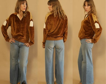Vintage 1970s Athletic, Unisex, Bronze, Caramel Brown & Ivory Velour Chevron Sweater
