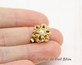 Flower Clasp, Single Strand Clasp, Brass Box Clasp, Gold Plated Box Clasp, Flower Box Clasp, Pearl Flower Clasp, Pearl Box Clasp