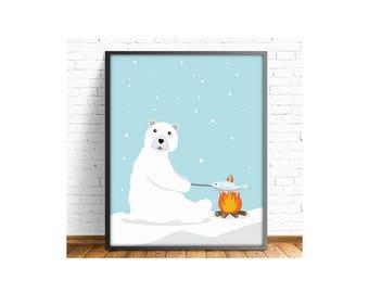 polar bear print, bear print, kids art room, kids room decor, nursery decor, nursery print, baby shower, animal print,4 SIZES INCLUDED