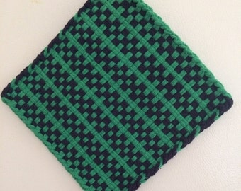 Large green and navy cotton loop potholder