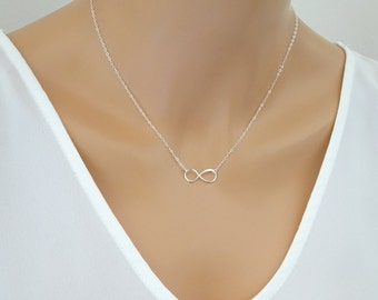 Infinity necklace, Simple  Bridal necklace, Bridesmaid jewelry, Infinite love, sister necklace, Mother of the Bride