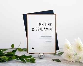 Modern & Bold Wedding Invitation, Deposit to Get Started