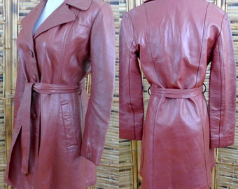 1970s Rust Brown Belted Leather Jacket - Medium