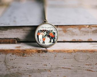 Floral Sheet Music Elephant Neckalce ⇻ Boho Hippie Glass Dome Necklace ⇻ Wanderlust Safari Pendant Necklace