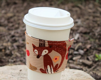 Reusable Coffee Cup Sleeve, Coffee Cup Cozy, Fall Fox Coffee Cup Cozy, Fox Fabric, Cup Cozy, Ready to Ship