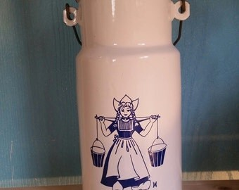 Vintage Blue and White Dutch Girl Enamelware Milk Jug with Wooden Handle