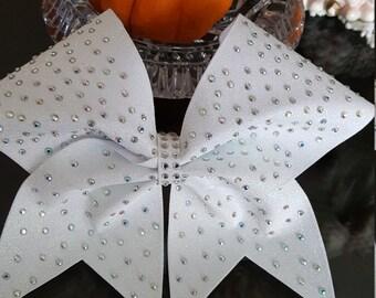 White Glitter Gradient Rhinestone Cheer Bow