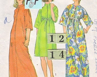 1970's Zipper, Empire Waist Robe, Dressing Gown Sewing Pattern/ Simplicity 6048 stand up collar loungewear, housecoat/ Size Medium 12 14