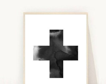 Swiss Cross Wall Art, Cross Print, Swiss Cross Print, Scandinavian Art, Printable art, Plus Sign Print, Modern Wall Art, Minimalist Art