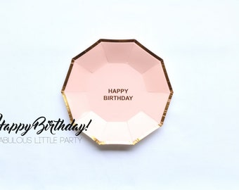 Birthday Decorations for Her, Blush Pink Birthday Plates, Pink and Gold Party Decor, Girl First Birthday, Dessert Table Cake Plates Gold