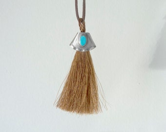 Sleeping Beauty Turquoise Pendant with Sorrel Horse Hair